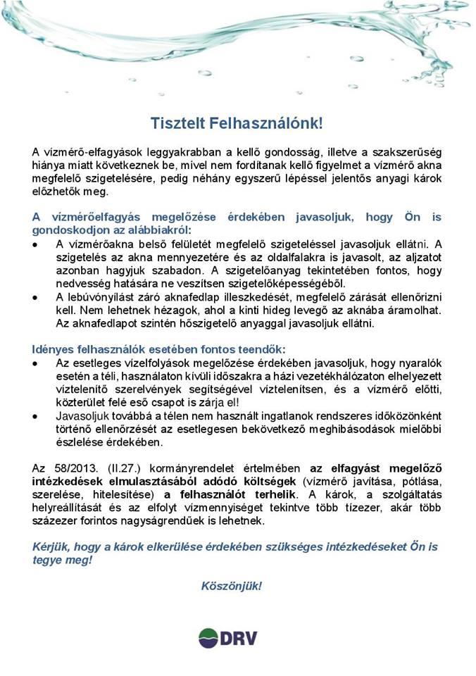 Tájékoztató vízmérők elfagyásáról DRV.